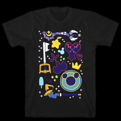 Kingdom Hearts pattern Mens/Unisex T-Shirt