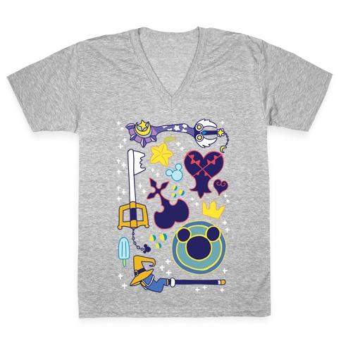 Kingdom Hearts pattern V-Neck Tee Shirt