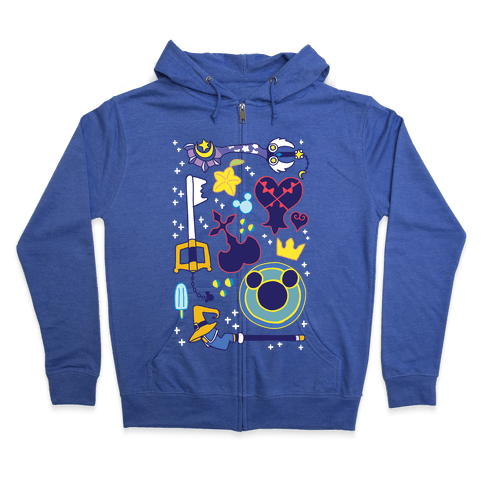Kingdom Hearts pattern Zip Hoodie