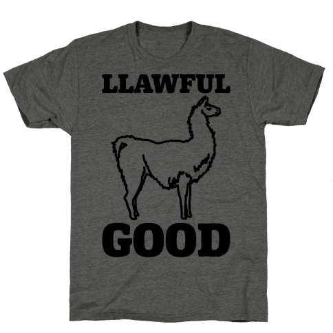 Llawful Good Llama Parody Mens T-Shirt