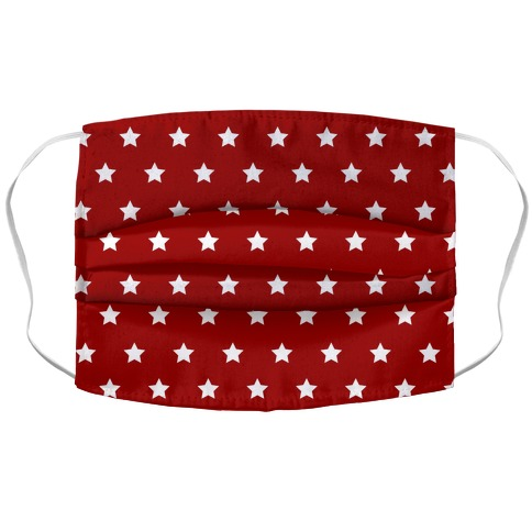 Red White Stars Accordion Face Mask