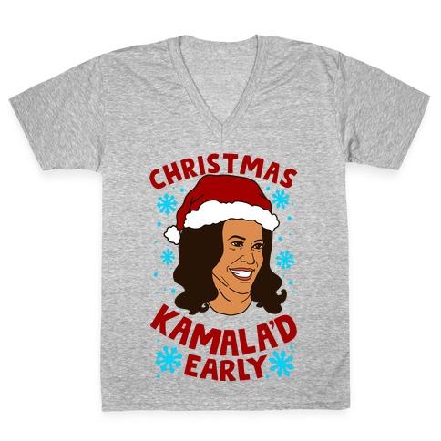 Christmas Kamala'd Early V-Neck Tee Shirt