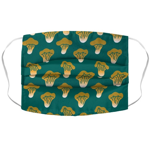 Golden Oyster Teal Green Mushroom Pattern Accordion Face Mask