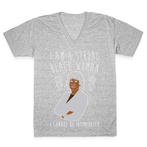 I Am A Strong Black Woman Maxine Waters White Print V-Neck Tee Shirt