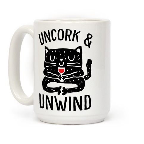 Uncork And Unwind Yoga Cat Coffee Mug