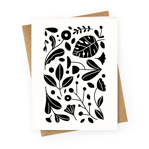 Black and White Plant Pattern Greeting Card