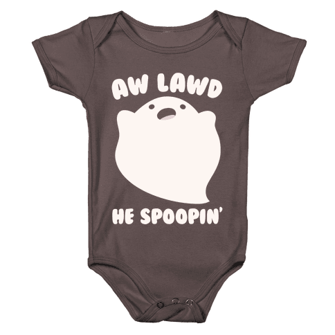 Aw Lawd He Spoopin' Ghost Parody White Print Baby One-Piece