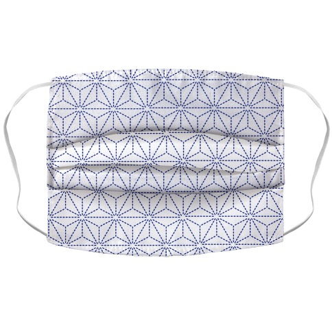 Sashiko Asanoha (White) Face Mask Cover