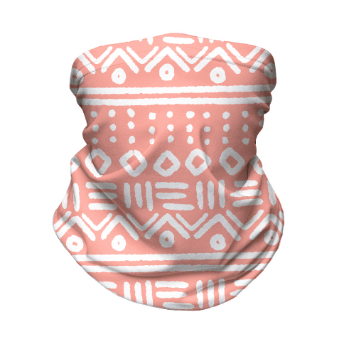 Abstract Geometric Coral Pink Boho Pattern Neck Gaiter