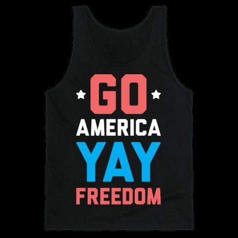 Go America Yay Freedom (White) Tank Top
