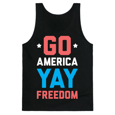 Go America Yay Freedom (White) Tank Top