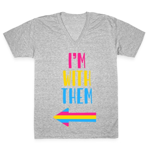 I'm With Them Pan Pride V-Neck Tee Shirt