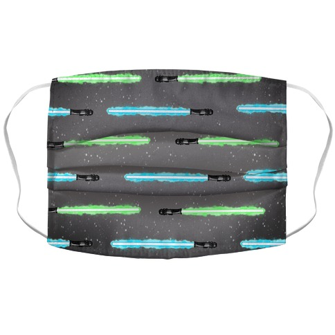 Blue and Green Lightsaber Pattern Accordion Face Mask