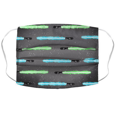Blue and Green Lightsaber Pattern Face Mask Cover