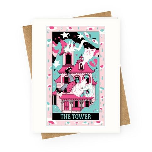 Creepy Cute Tarots: The Tower Haunted House Greeting Card