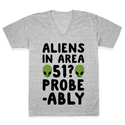 Aliens In Area 51 Probe-ably Parody V-Neck Tee Shirt