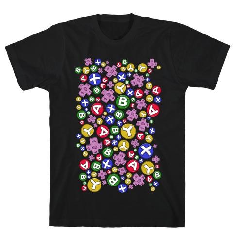 Video Game Controller Buttons Pattern T-Shirt