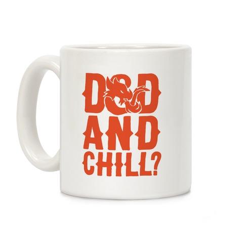 D & D and Chill Parody White Print Coffee Mug