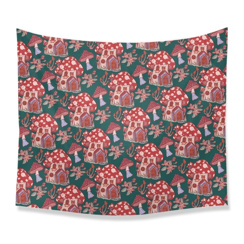 Fairy Mushroom House Pattern Tapestry