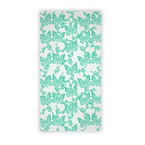 Butterfly Vagina Pattern (Teal) Beach Towel
