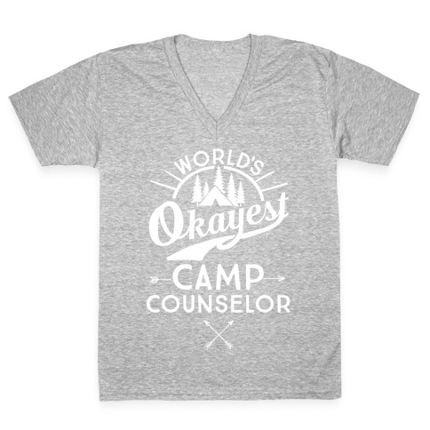 World's Okayest Camp Counselor V-Neck Tee Shirt