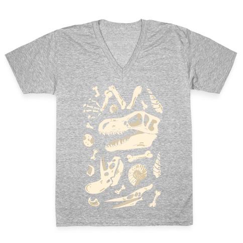 Dino Fossils Pattern V-Neck Tee Shirt