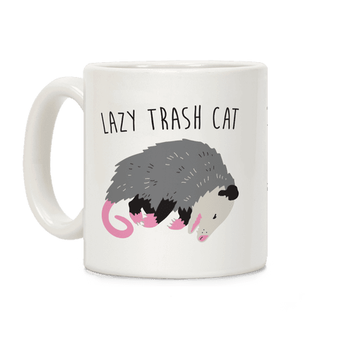 Lazy Trash Cat Coffee Mug