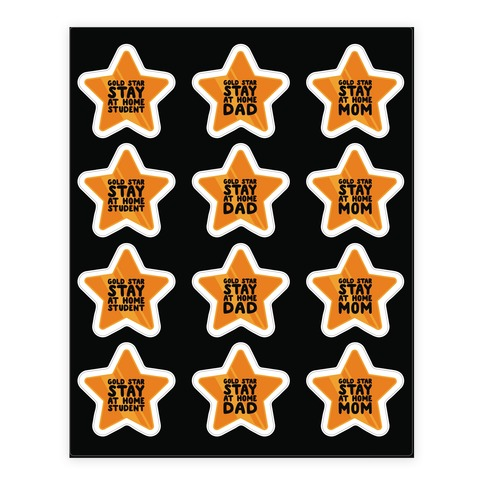 Stay At Home Gold Star Sticker Sheet Stickers and Decal Sheet