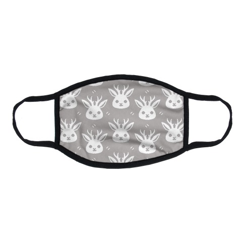 Cute Jackalope Grey Pattern Flat Face Mask