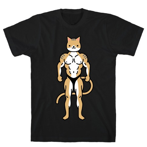 Buff Cat White Brown Grey T-Shirt