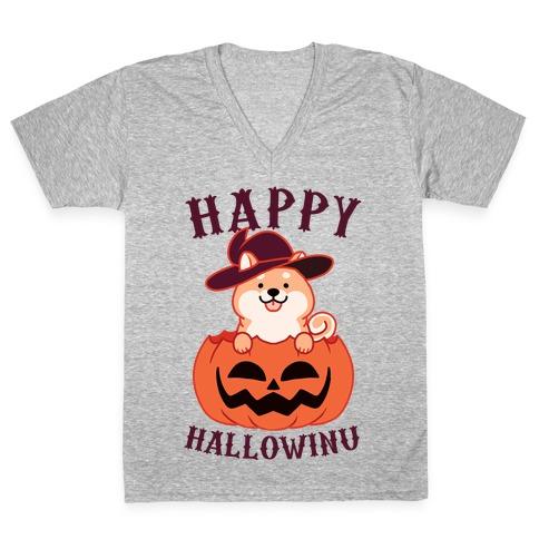 Happy Hallowinu V-Neck Tee Shirt