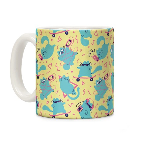 90's Cats Pattern Coffee Mug