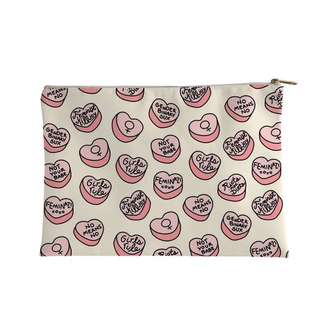 Feminist Conversation Hearts Accessory Bag