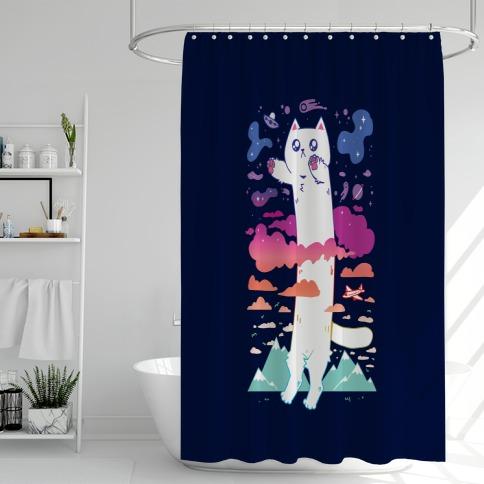 Long Cat Shower Curtain