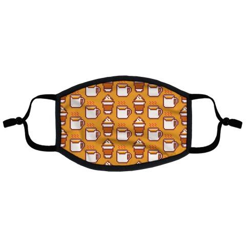 Pumpkin Spice Pixel Pattern Flat Face Mask