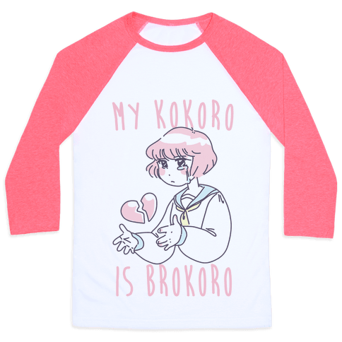 My Kokoro is Brokoro Baseball Tee