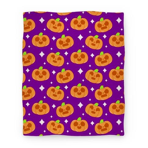 Kawaii Pumpkins Pattern Orange Blanket