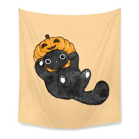 Halloween Pumpkin Cat  Tapestry