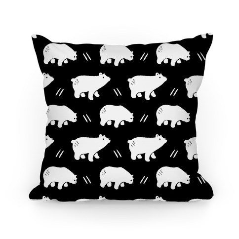 Bear Black and White Boho Pattern Pillow
