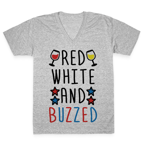 Red, White And Buzzed V-Neck Tee Shirt