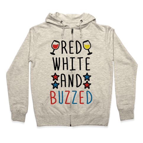 Red, White And Buzzed Zip Hoodie