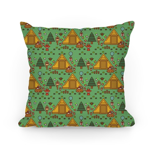 Yellow Tent Glamping Pattern Green Pillow