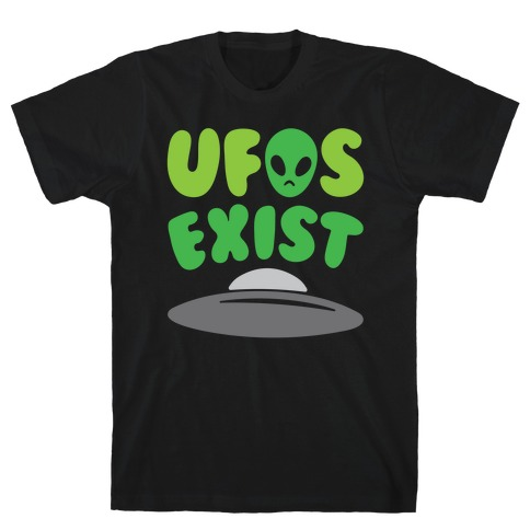 UFOS Exist White Print T-Shirt