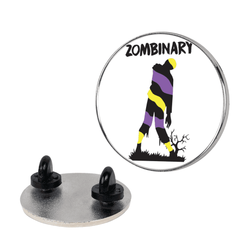 Zombinary Nonbinary Zombie pin