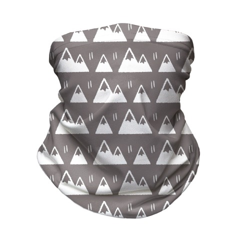 Mountains Boho Pattern Grey and White Neck Gaiter