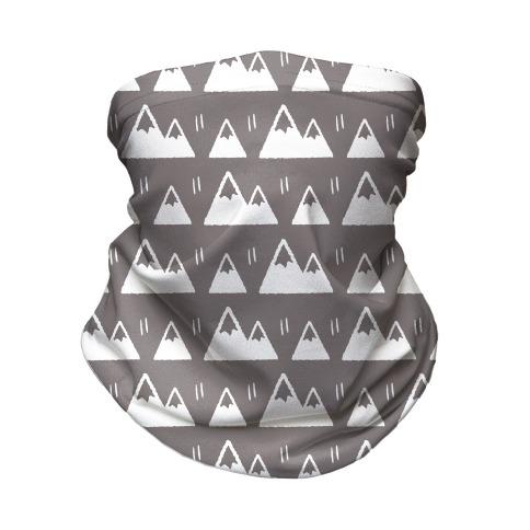 Mountains Boho Pattern Grey and White Neck Gaiter