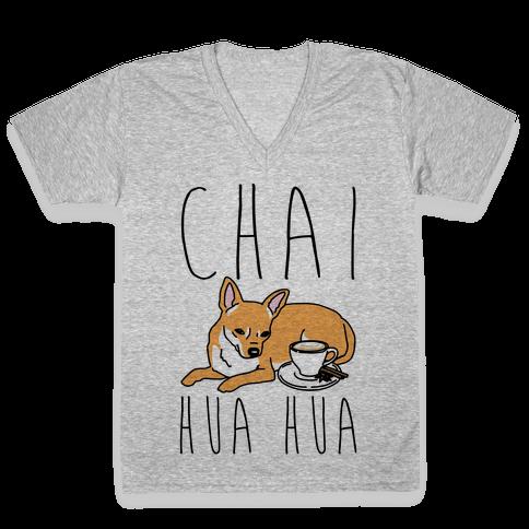 Chai Hua Hua Chihuahua Parody V-Neck Tee Shirt