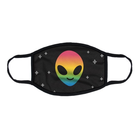 Rainbow Alien Flat Face Mask