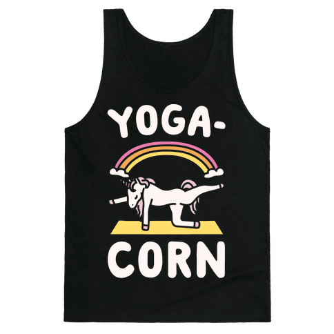Yoga-Corn White Print Tank Top