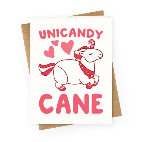 Uni-Candy Cane Greeting Card